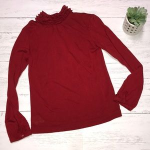 Ralph Lauren top with ruffles in red 🎄